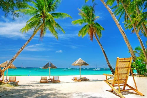 A picture of a beach, palm trees, white sand, umbrellas, seats