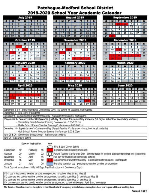 2019-2020 School Year Academic Calendar